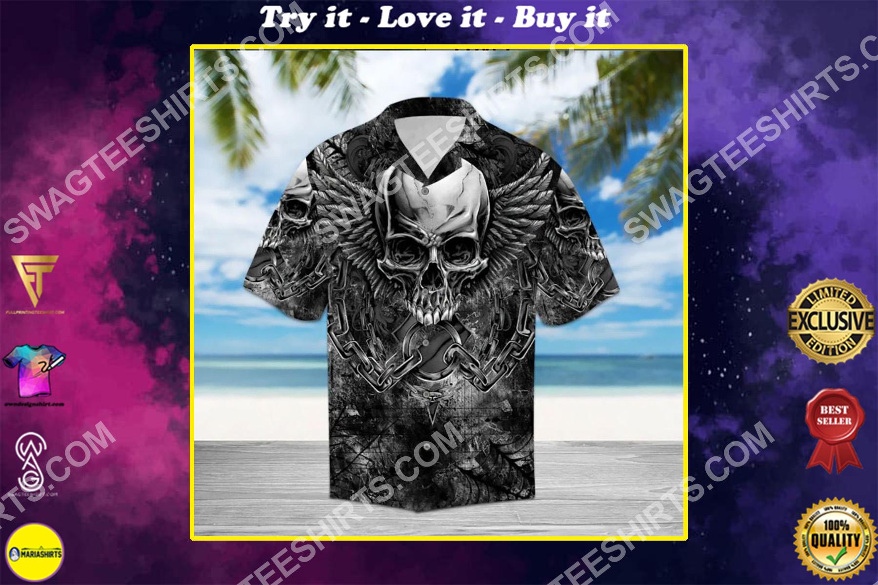 the skull and wings all over printed hawaiian shirt
