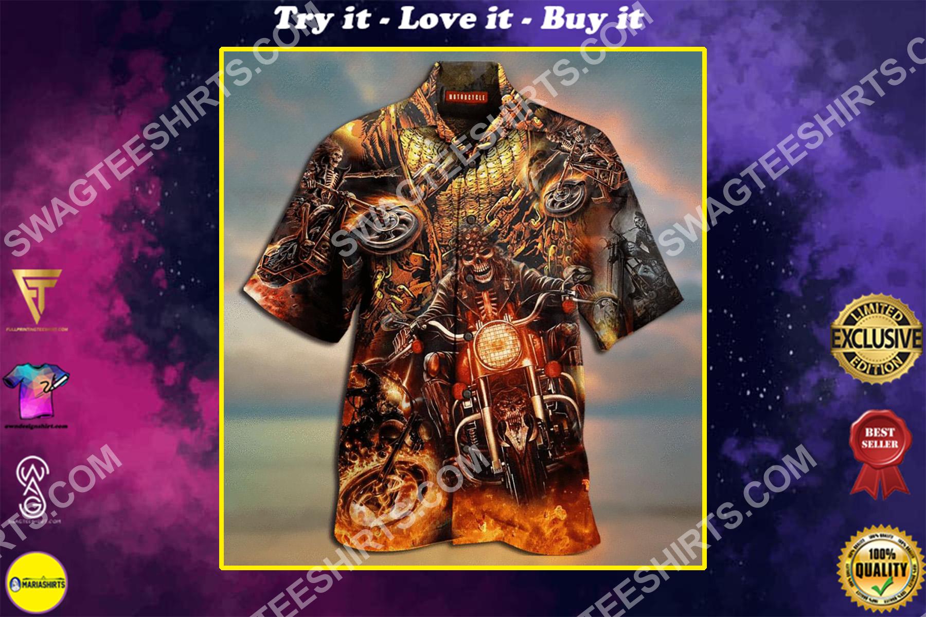 the skull biker fire all over printed hawaiian shirt