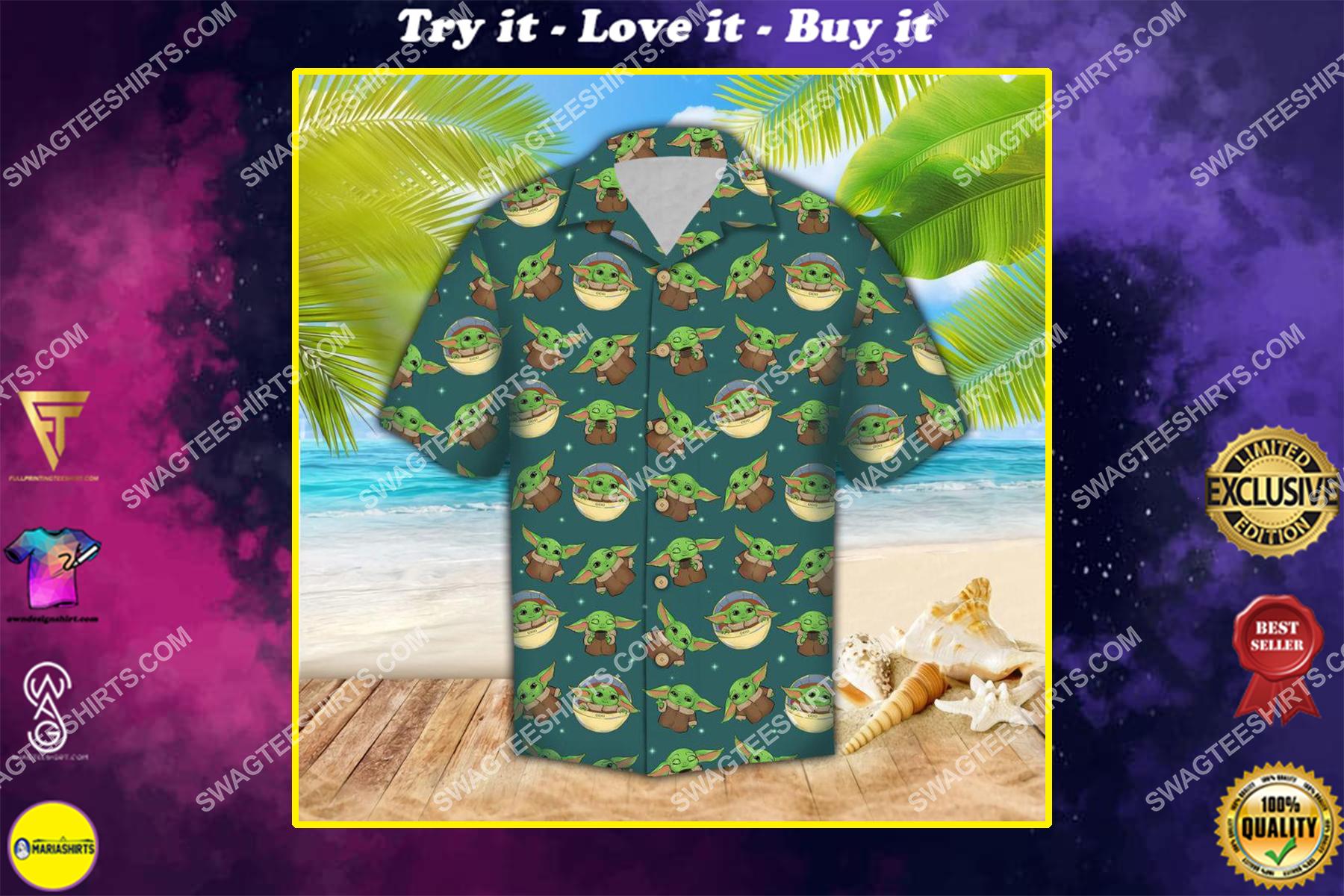 the star wars baby yoda all over print hawaiian shirt