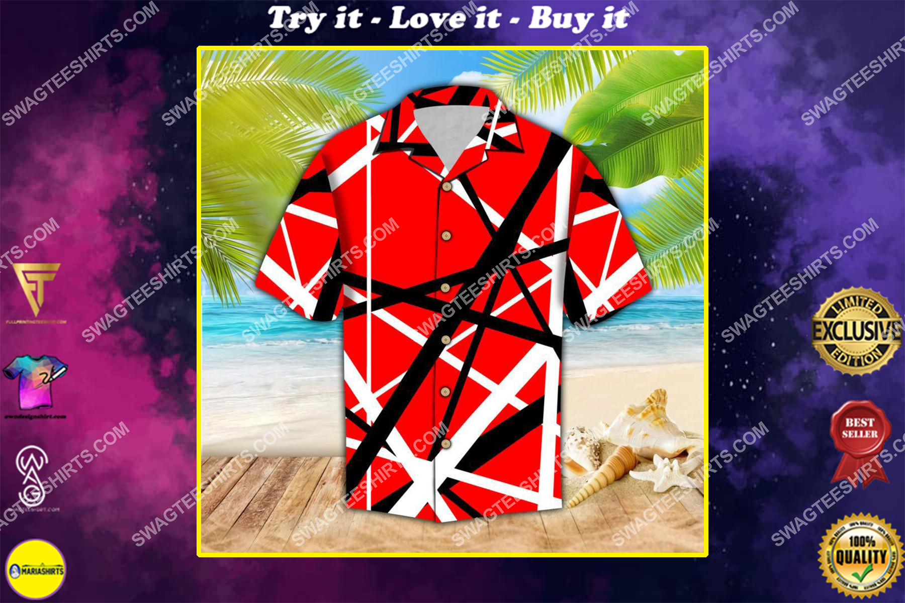 the van halen band all over print hawaiian shirt