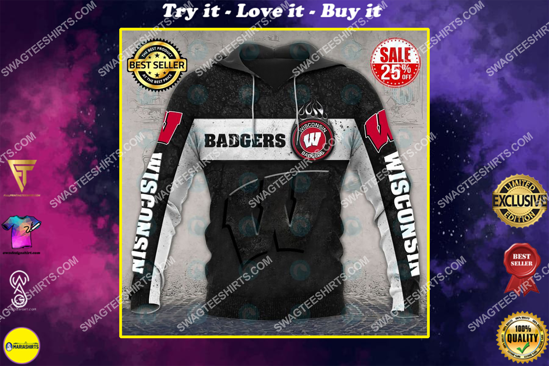 the wisconsin badgers football all over printed shirt