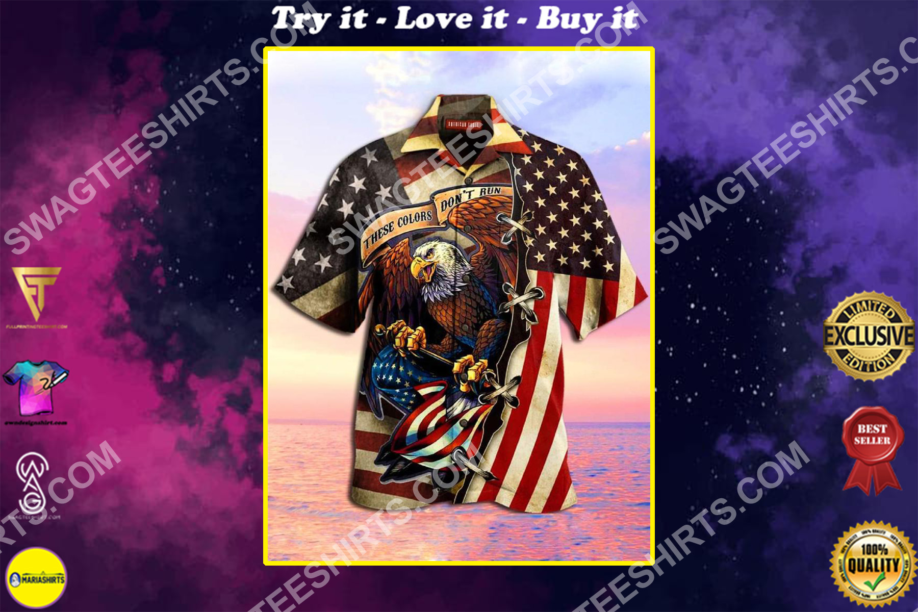 these colors don't run they reload america flag all over printing hawaiian shirt