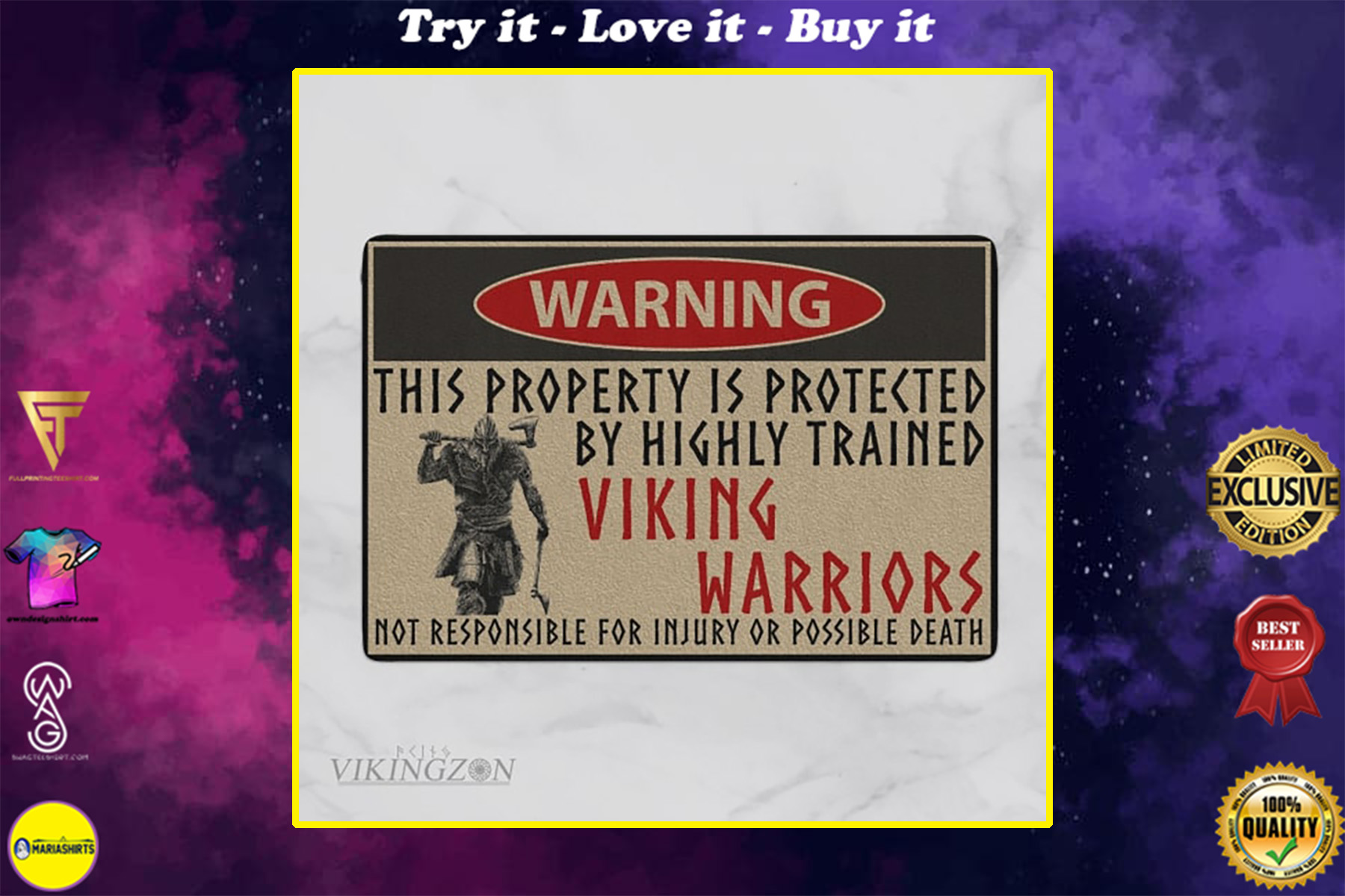 this property is protected by highly trained viking warriors not responsible for injury or possible death doormat