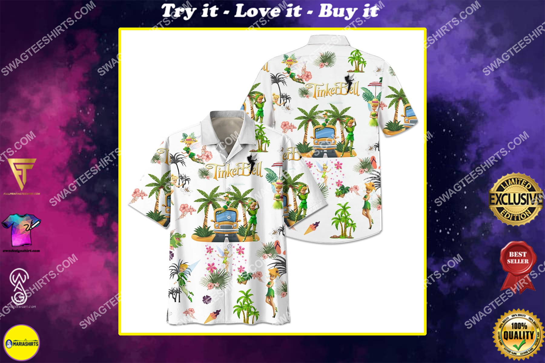 tinker bell on the beach summer full printing hawaiian shirt