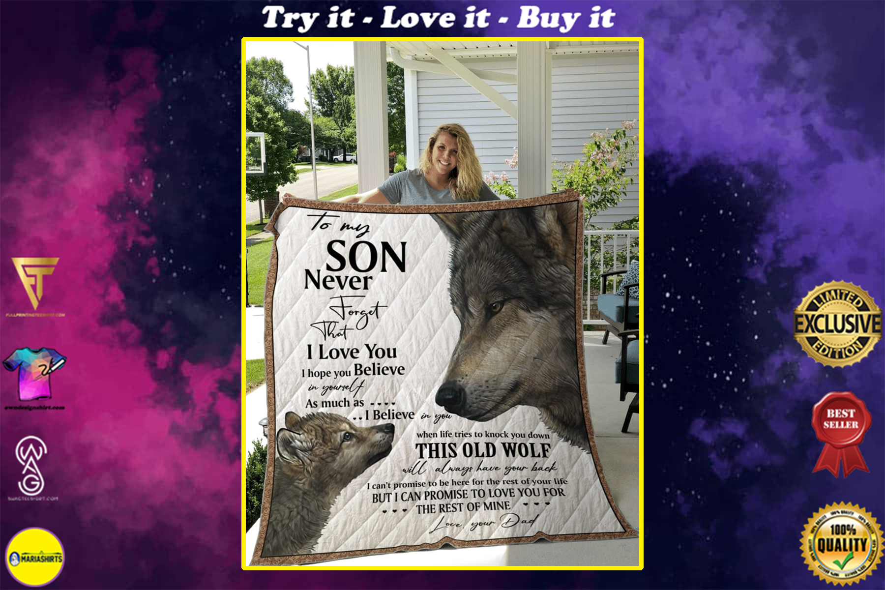 to my son never forget that i love you wolf quilt