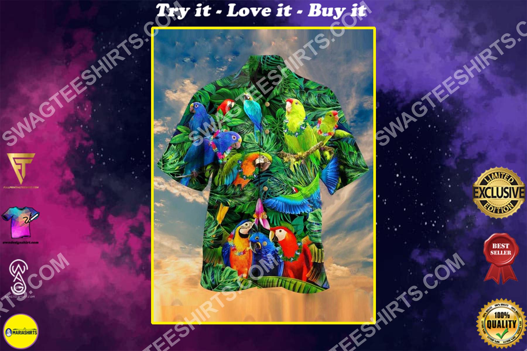 tropical and parrot all over printing hawaiian shirt