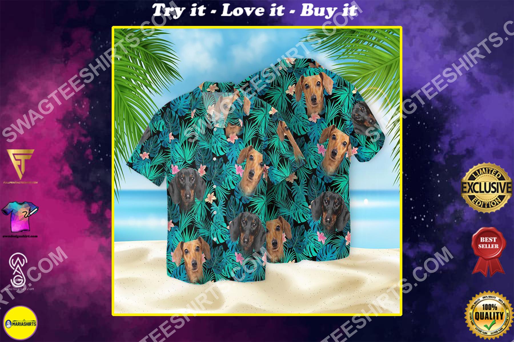 tropical dachshund dog lover all over printed hawaiian shirt