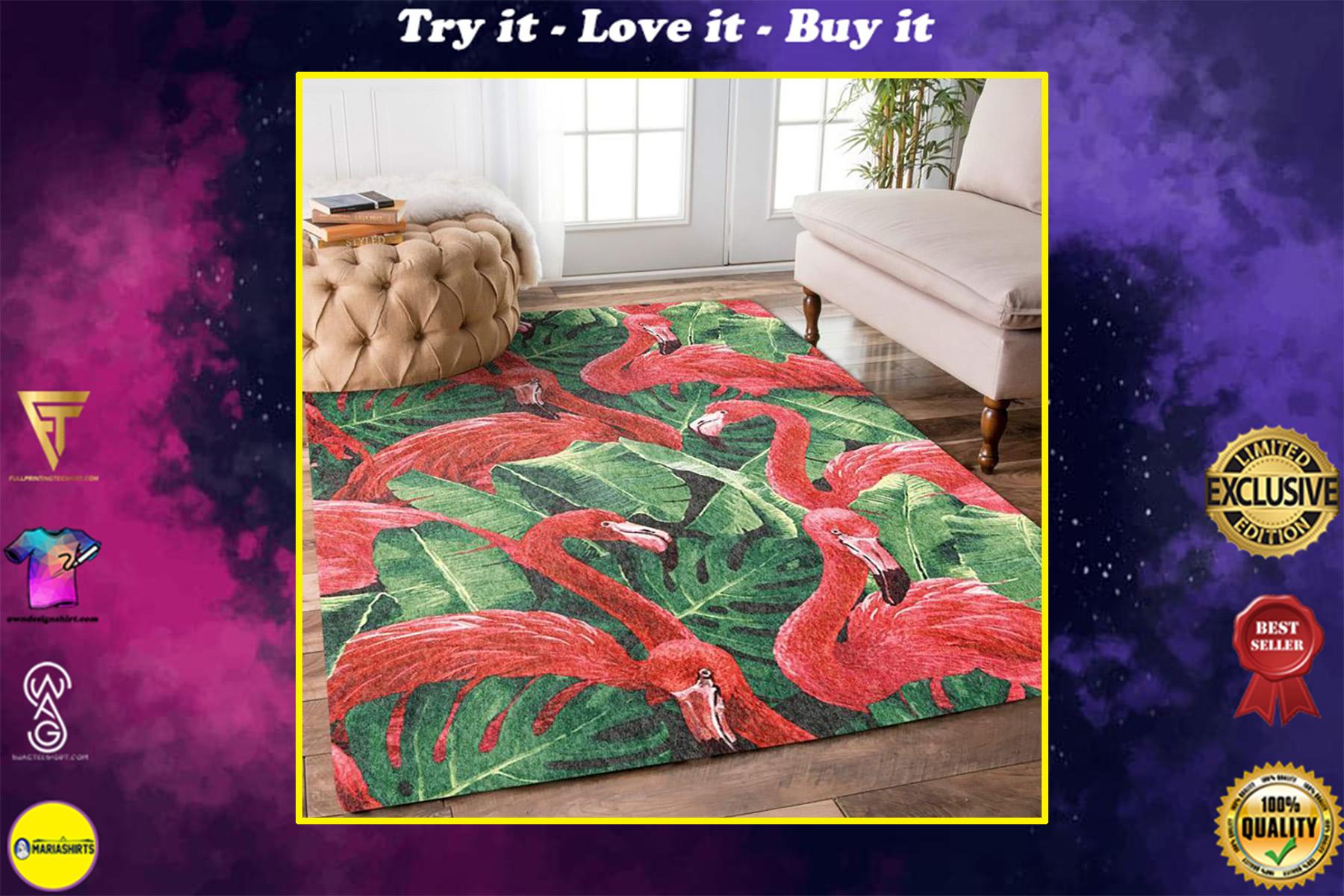 tropical flamingo all over printed rug