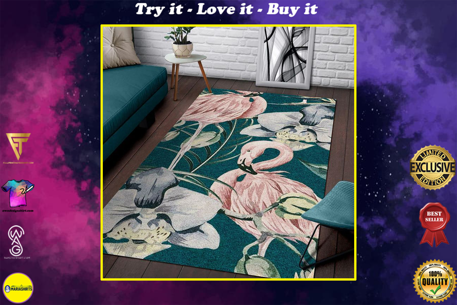 tropical flower and flamingo all over printed rug