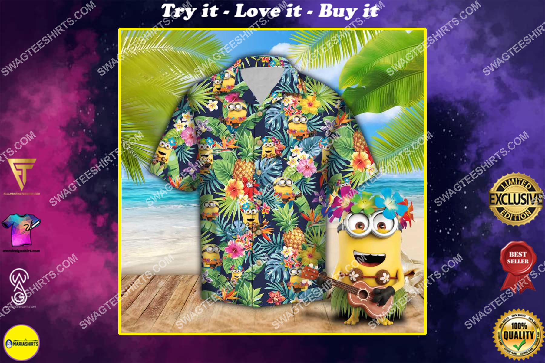 tropical minions all over print hawaiian shirt