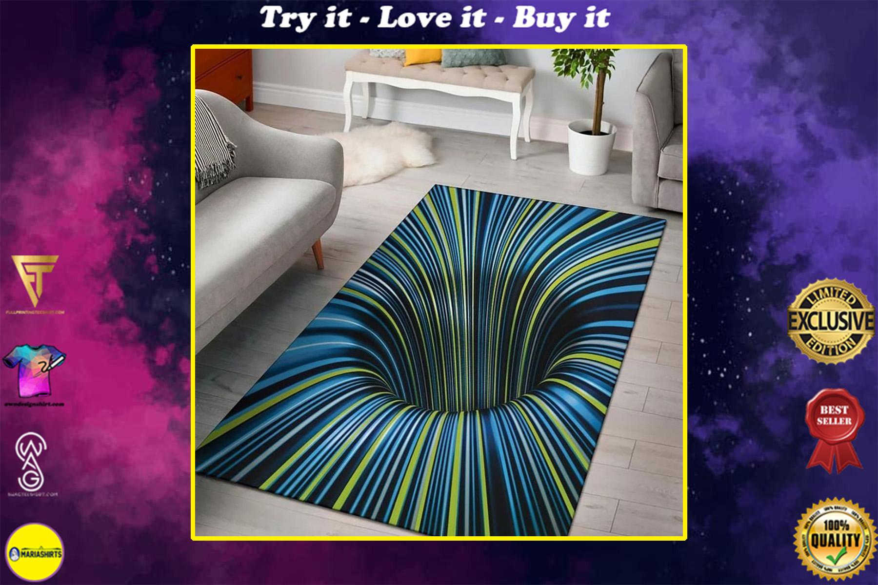 tunnel illusion black hole all over print rug
