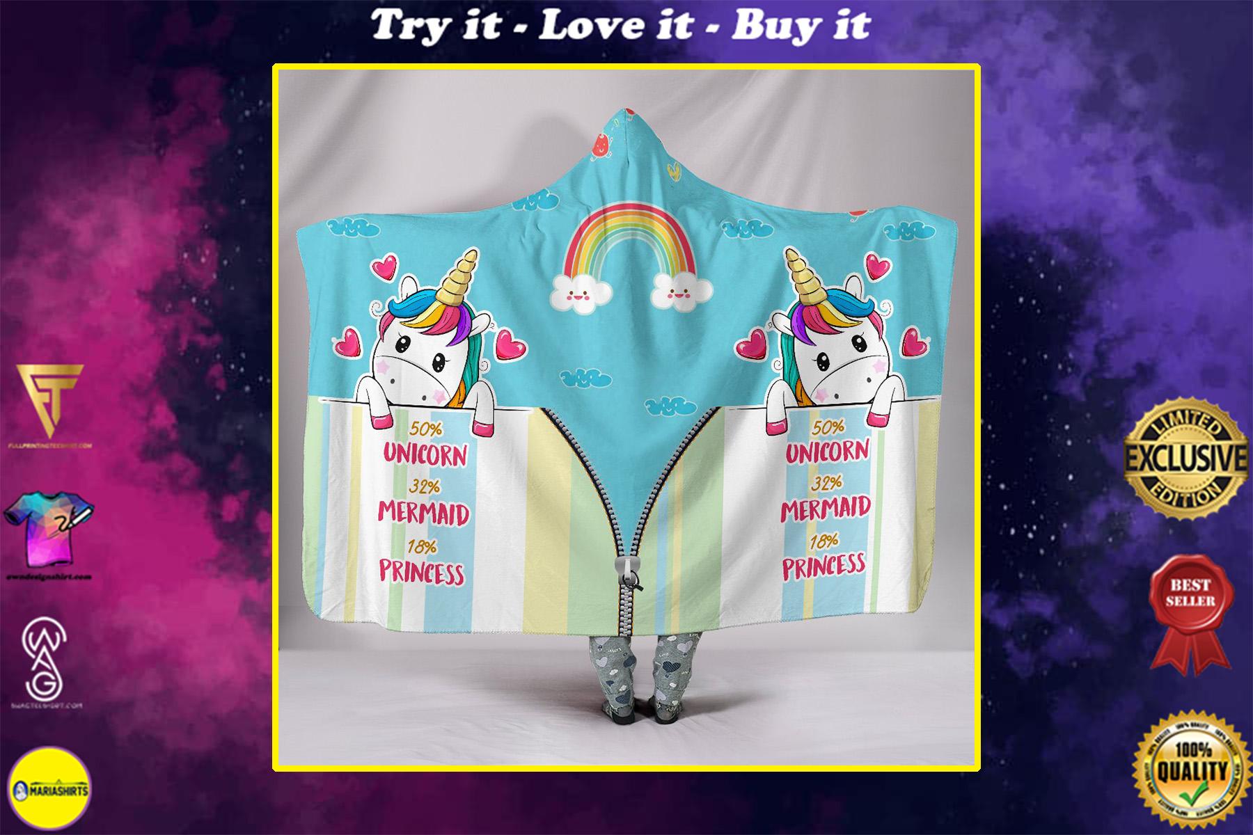 unicorn mermaid princess full printing hooded blanket