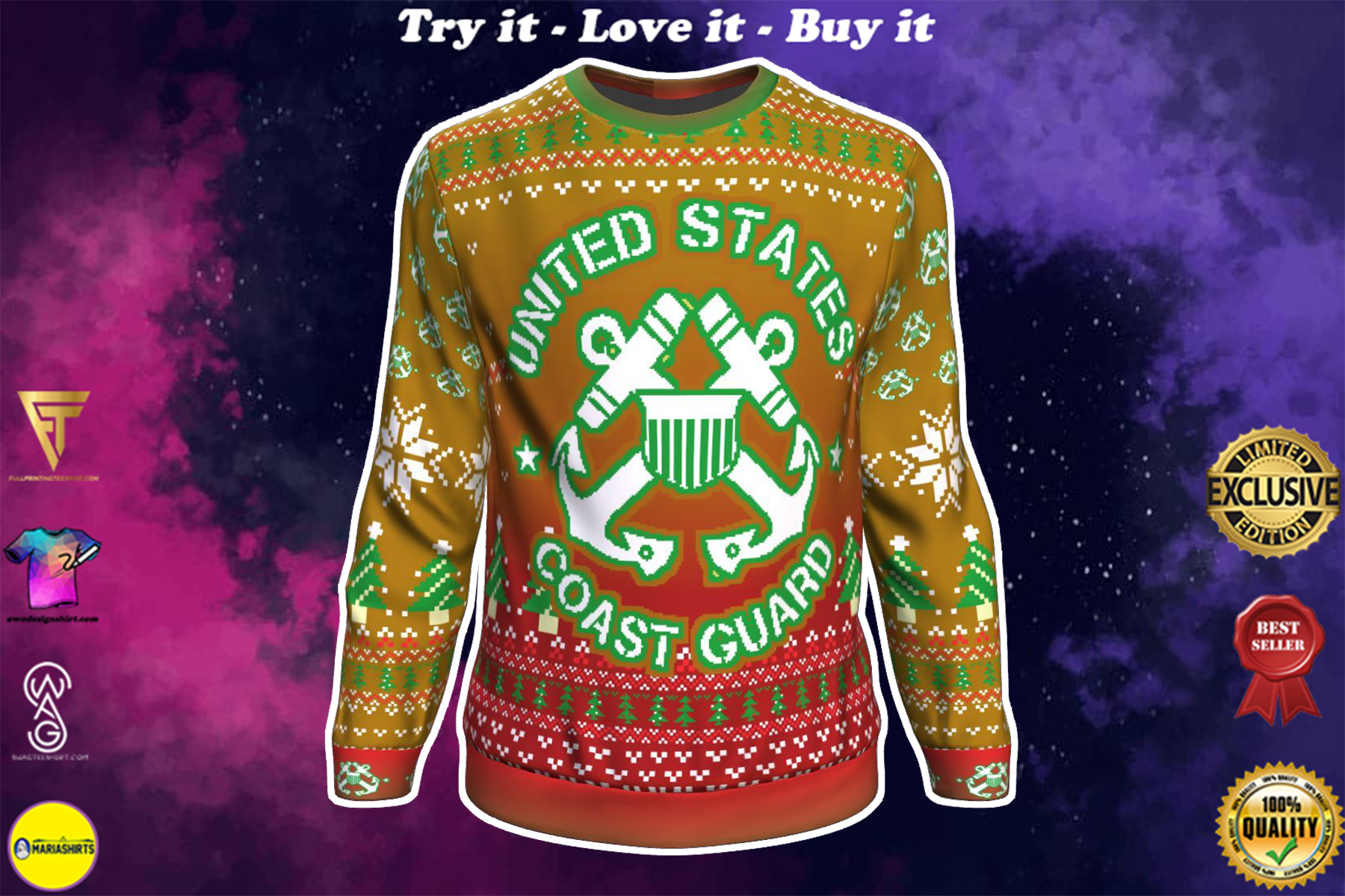 united states coast guard bright all over printed ugly christmas sweater