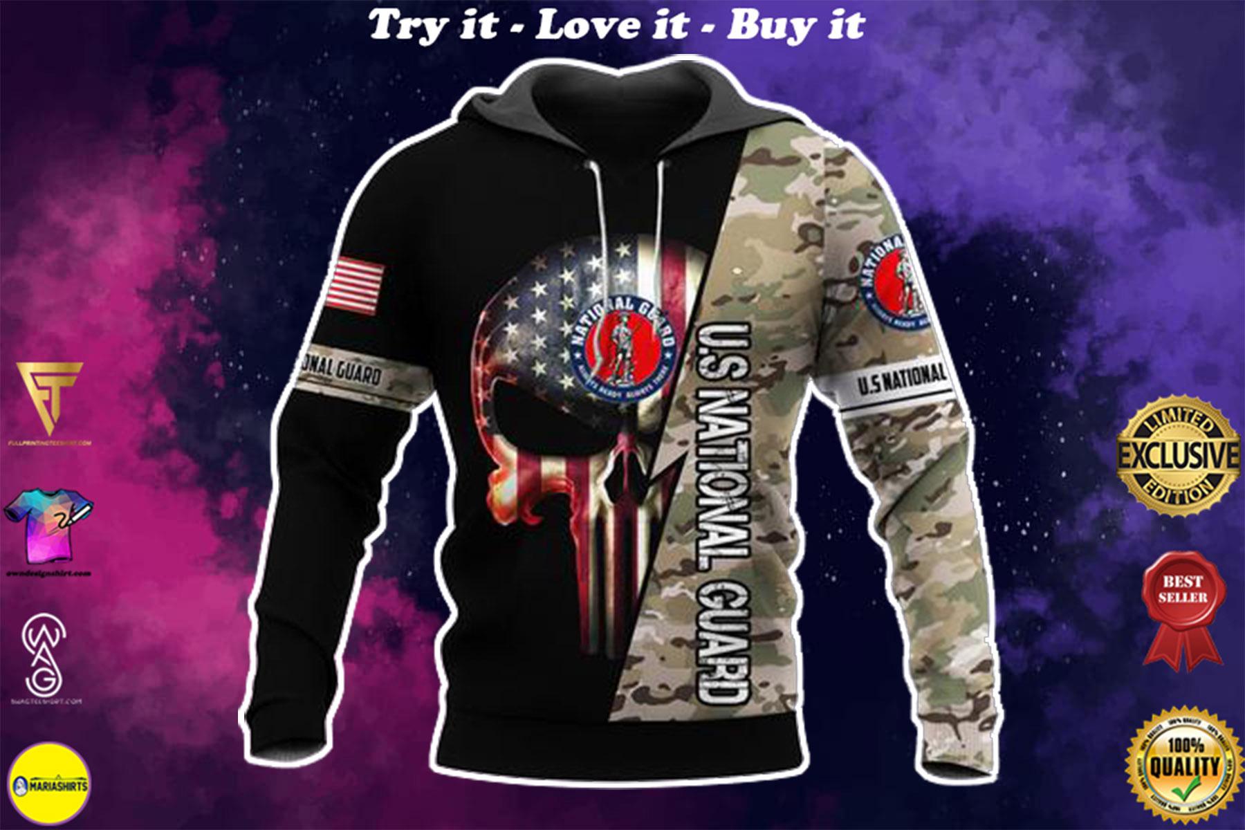 us national guard skull american flag camo full over printed shirt