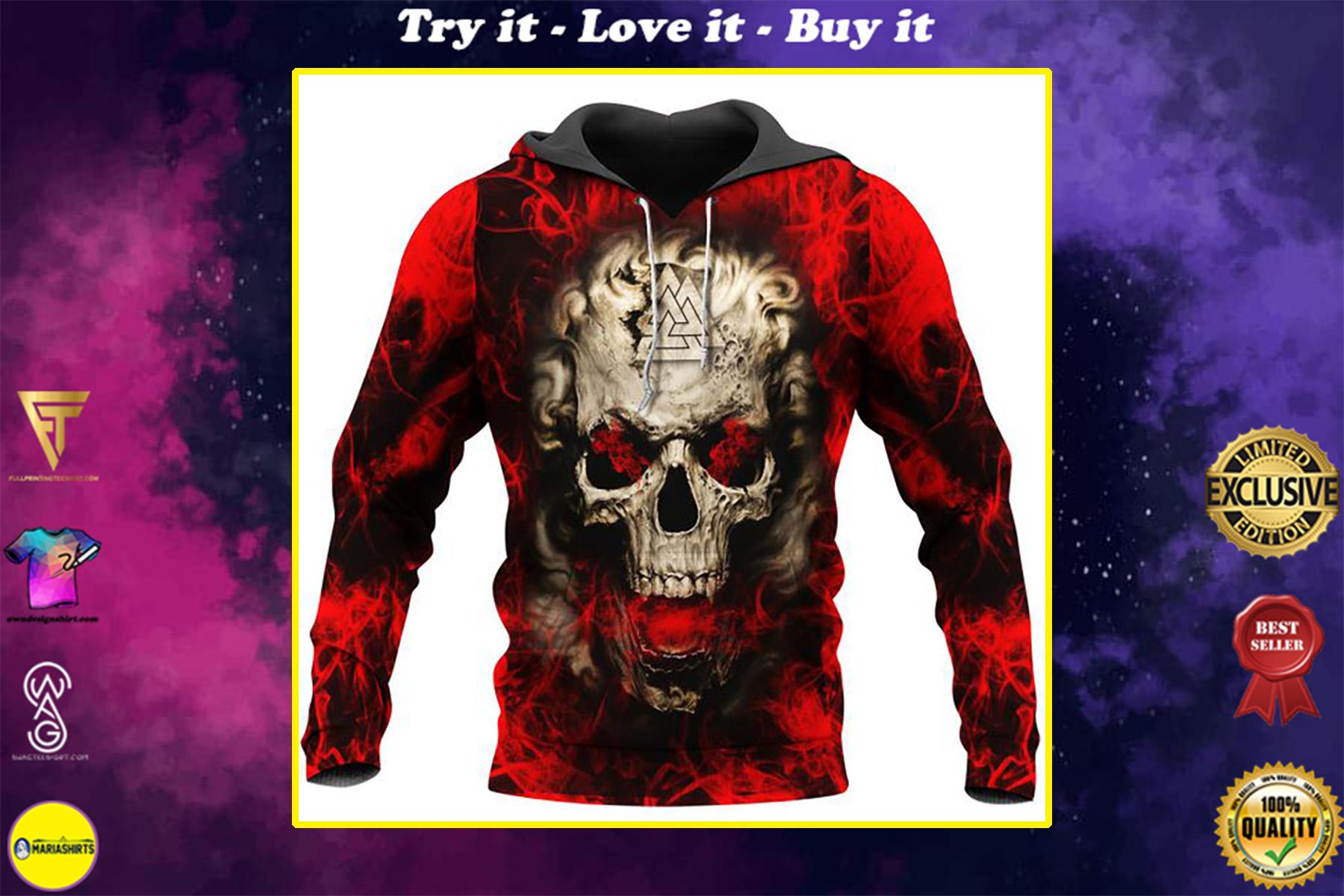 viking skull on fire all over printed shirt