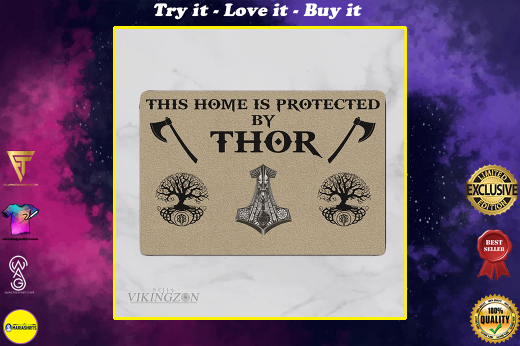 viking this home is protected by thor full printing doormat
