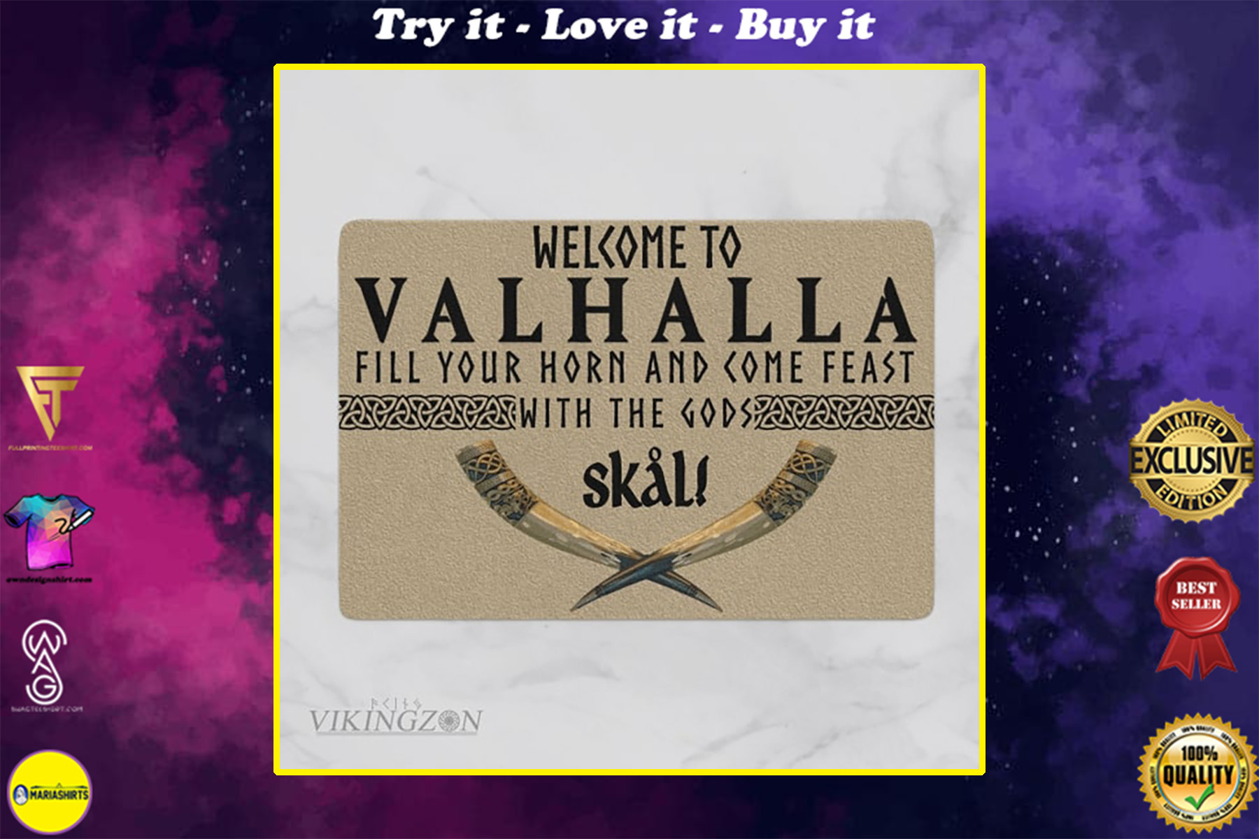 viking welcome to valhalla fill your horn and come feast with the Gods full printing doormat