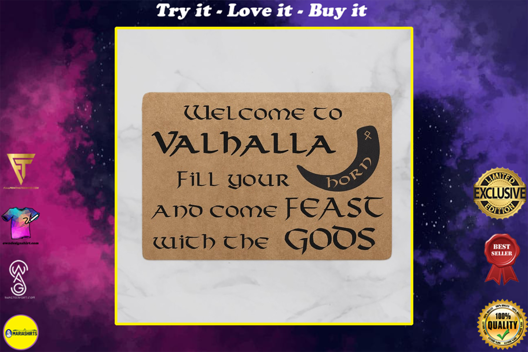 viking welcome to valhalla full printing doormat