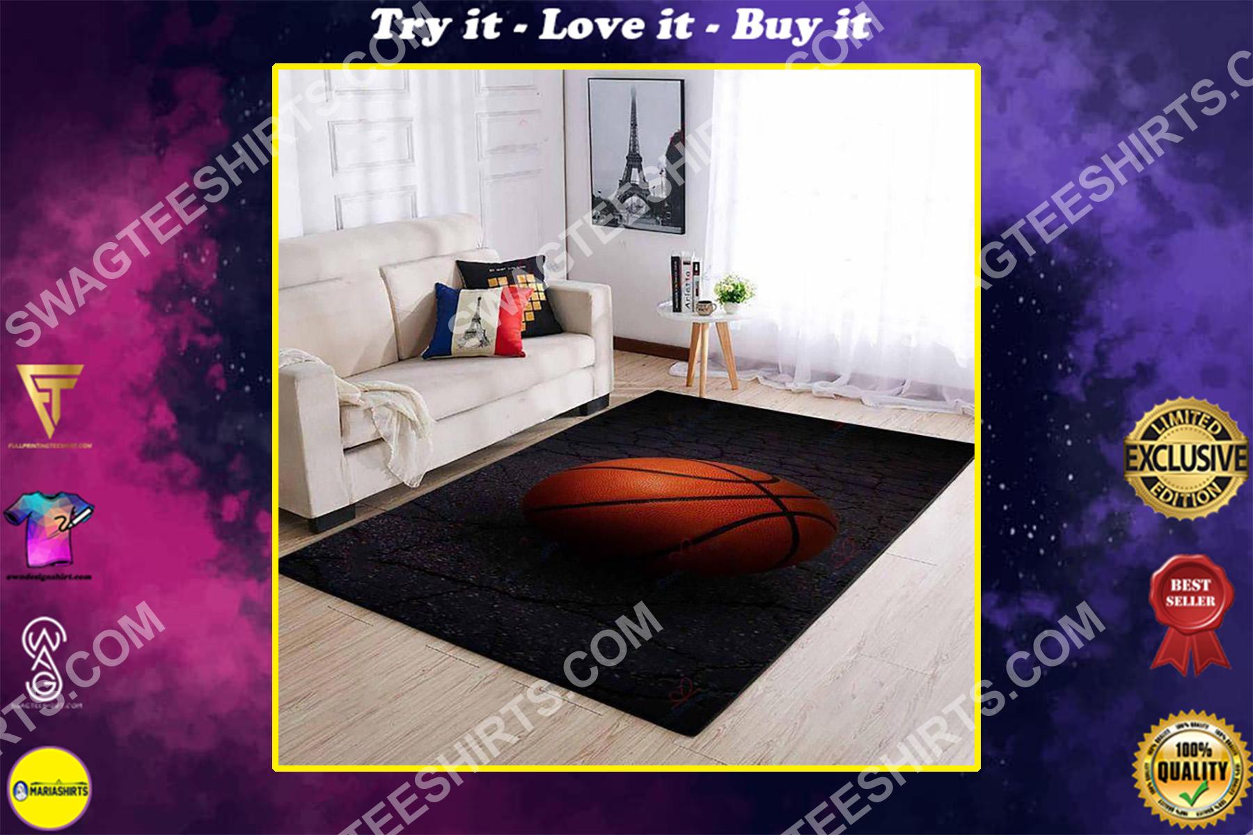 vintage basketball lover all over printed rug
