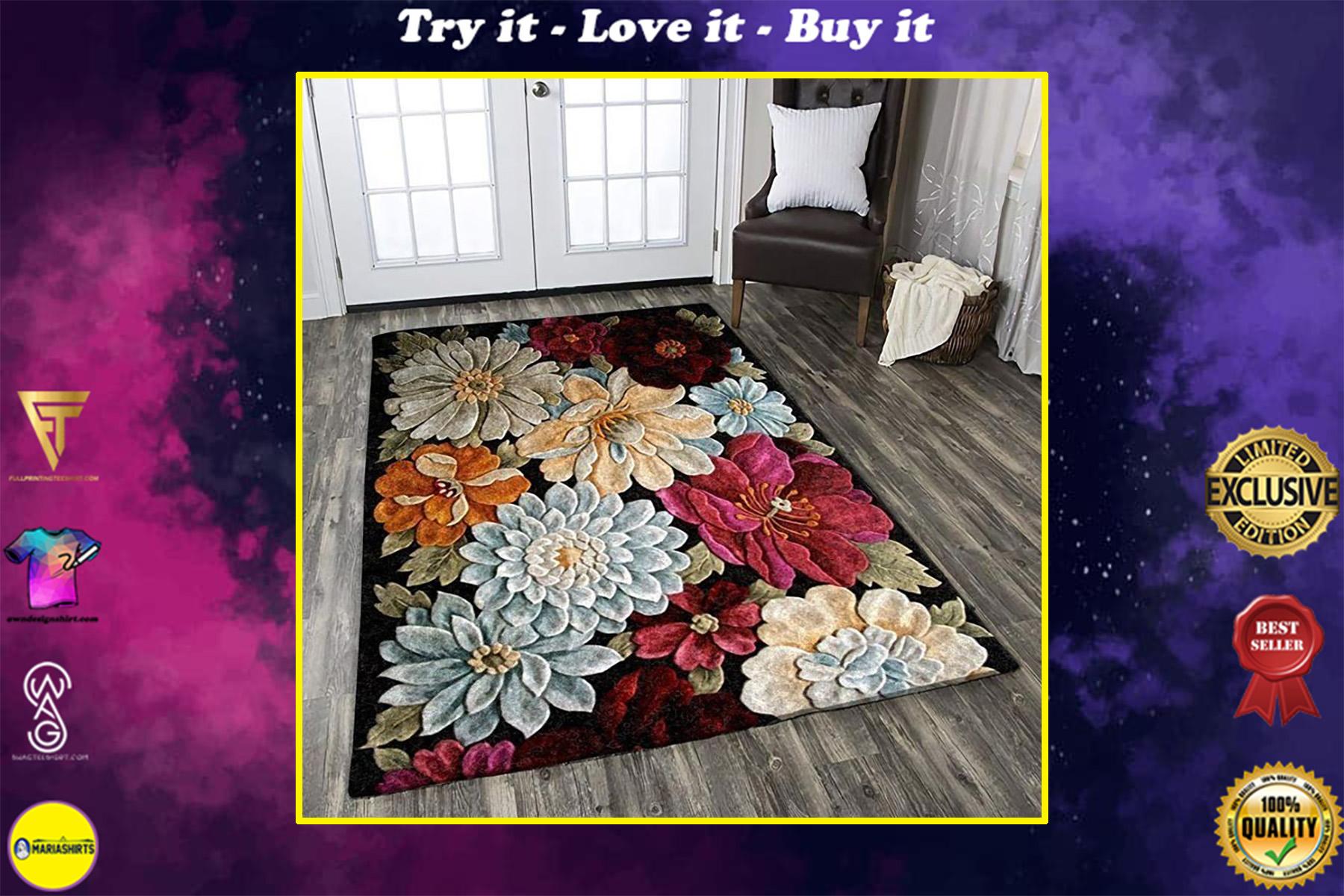 vintage blooming flower all over printed rug