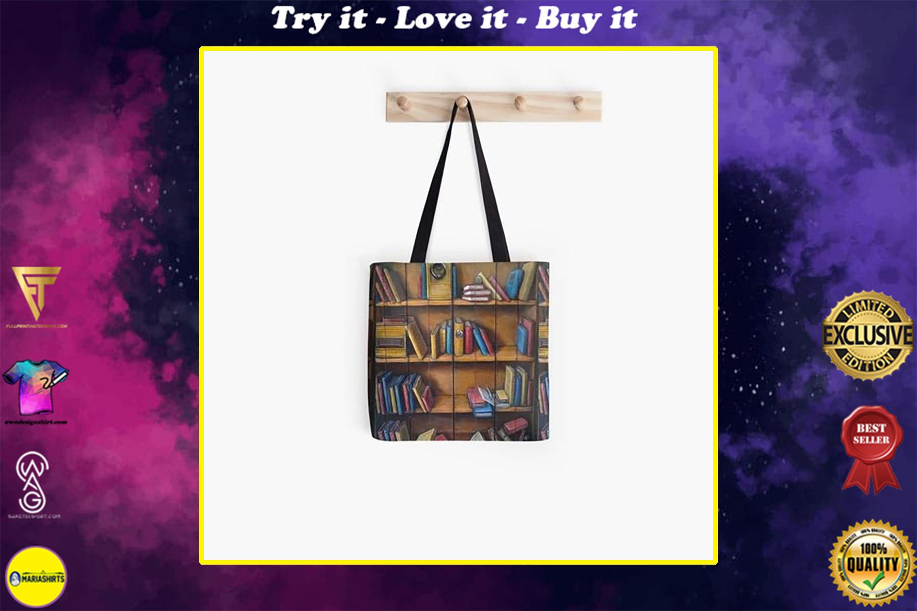 vintage book lovers reading bookshelf all over printed tote bag