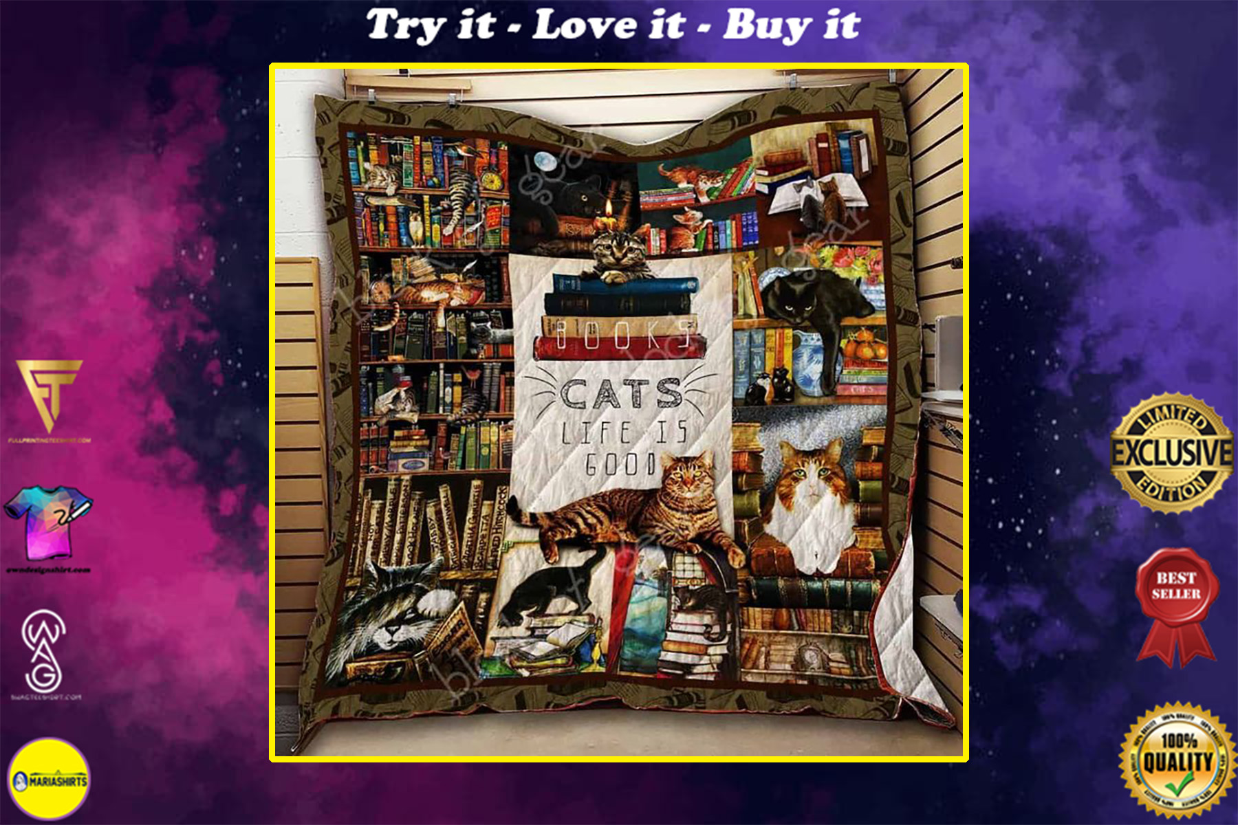 vintage books and cats life is good full printing quilt