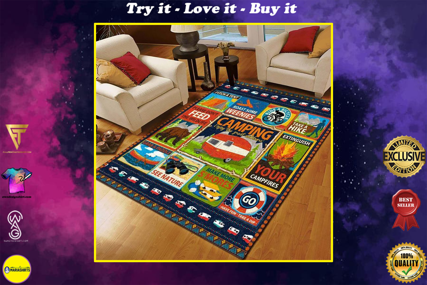 vintage camping outdoor all over printed rug