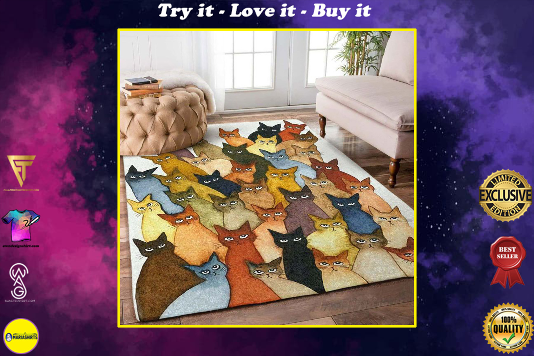 vintage cats all over printed rug