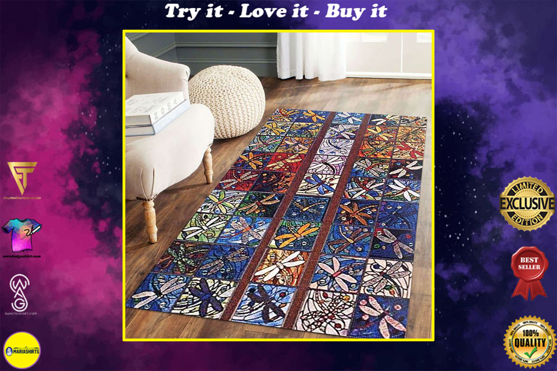 vintage dragonfly colorful all over printed rug