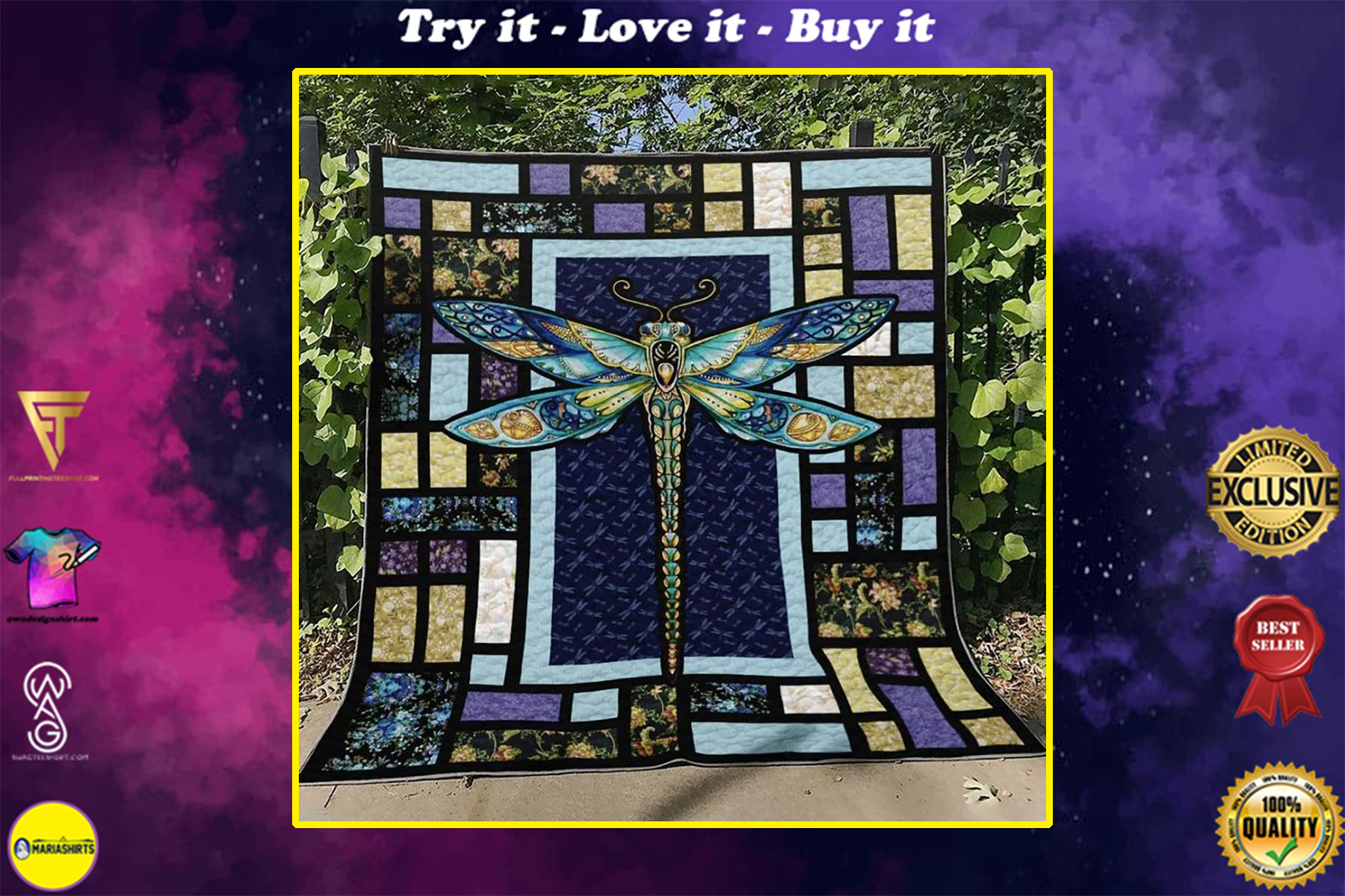 vintage dragonfly night colorful full printing quilt