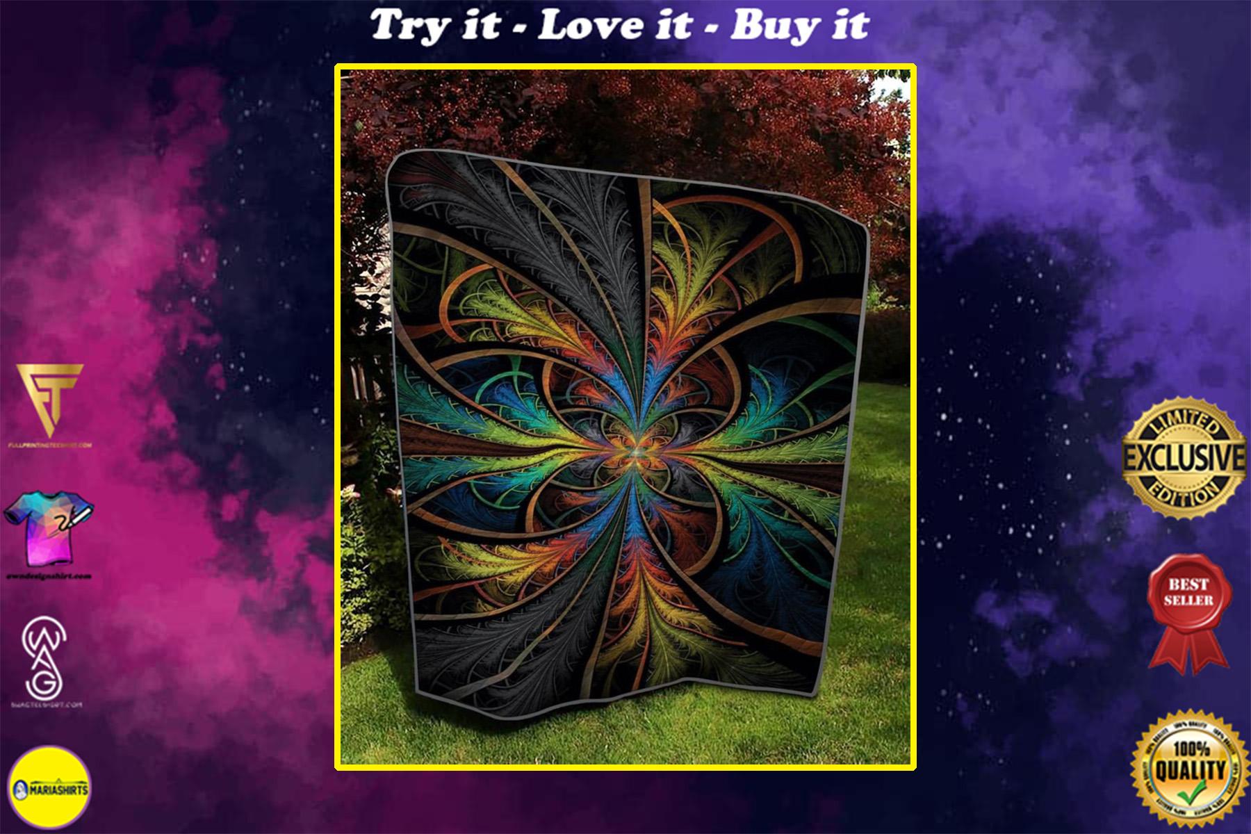 vintage fractal flower colorful full printing quilt