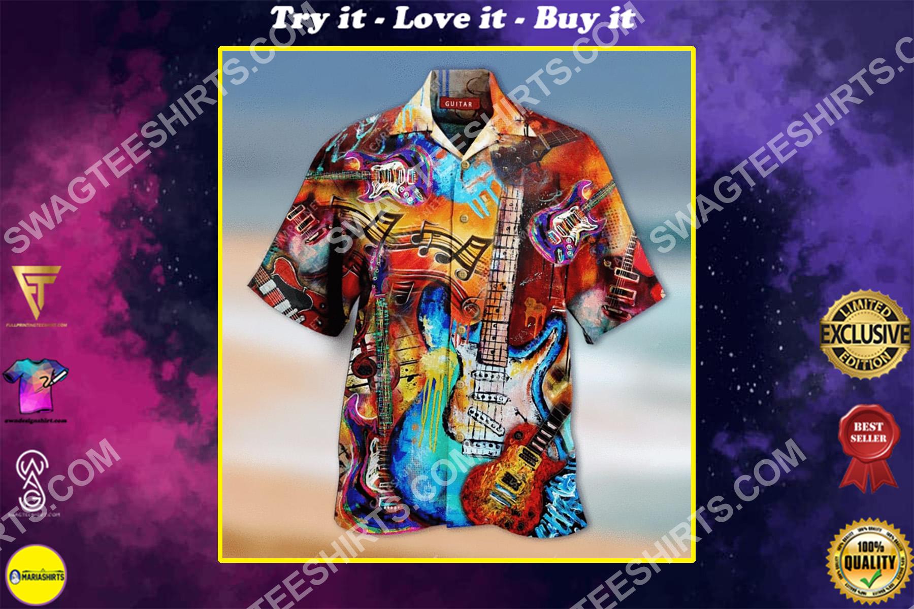 vintage guitar colorful all over printing hawaiian shirt