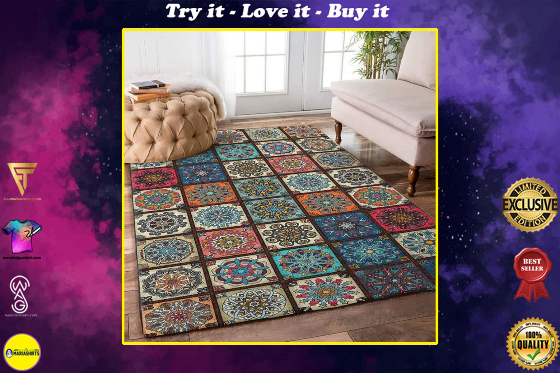 vintage mandala flower colorful full printing rug