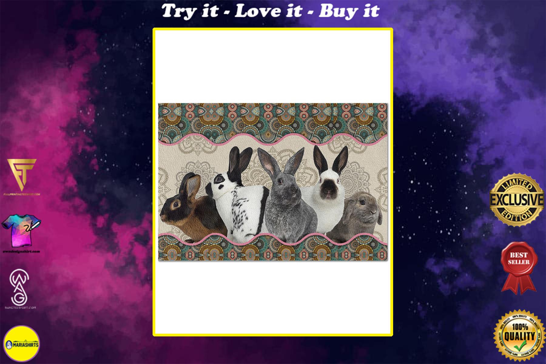 vintage mandala rabbit full printing doormat