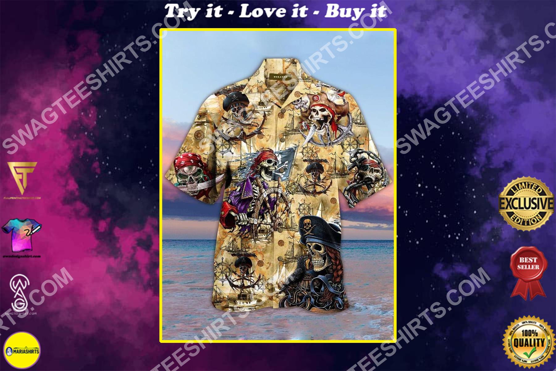 vintage pirates skull all over printing hawaiian shirt