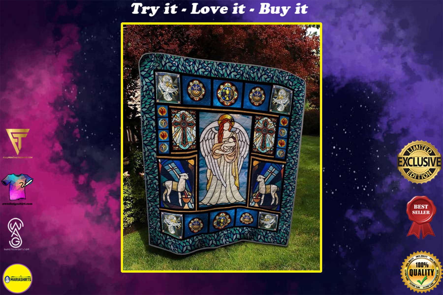 vintage the angel and baby full printing quilt