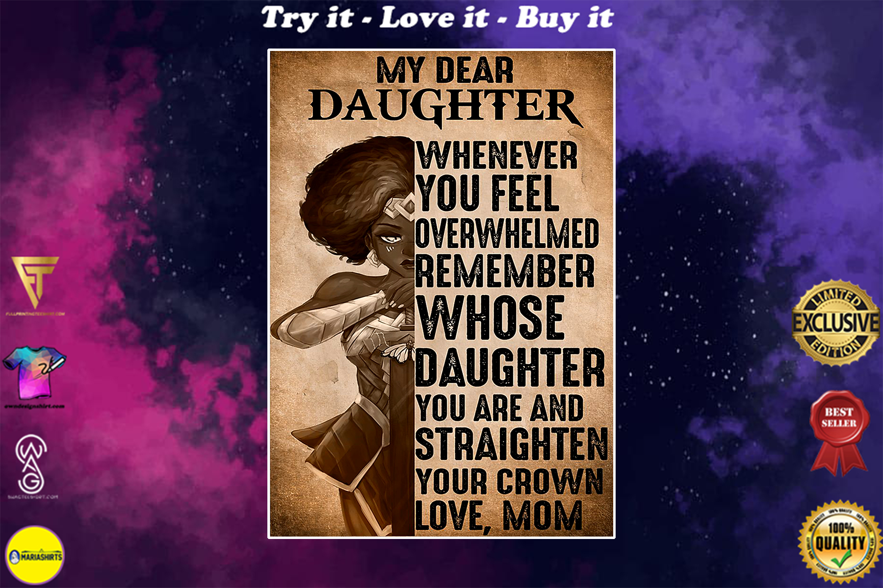 warrior girl my dear daughter whernever you feel overwhelmed vintage poster