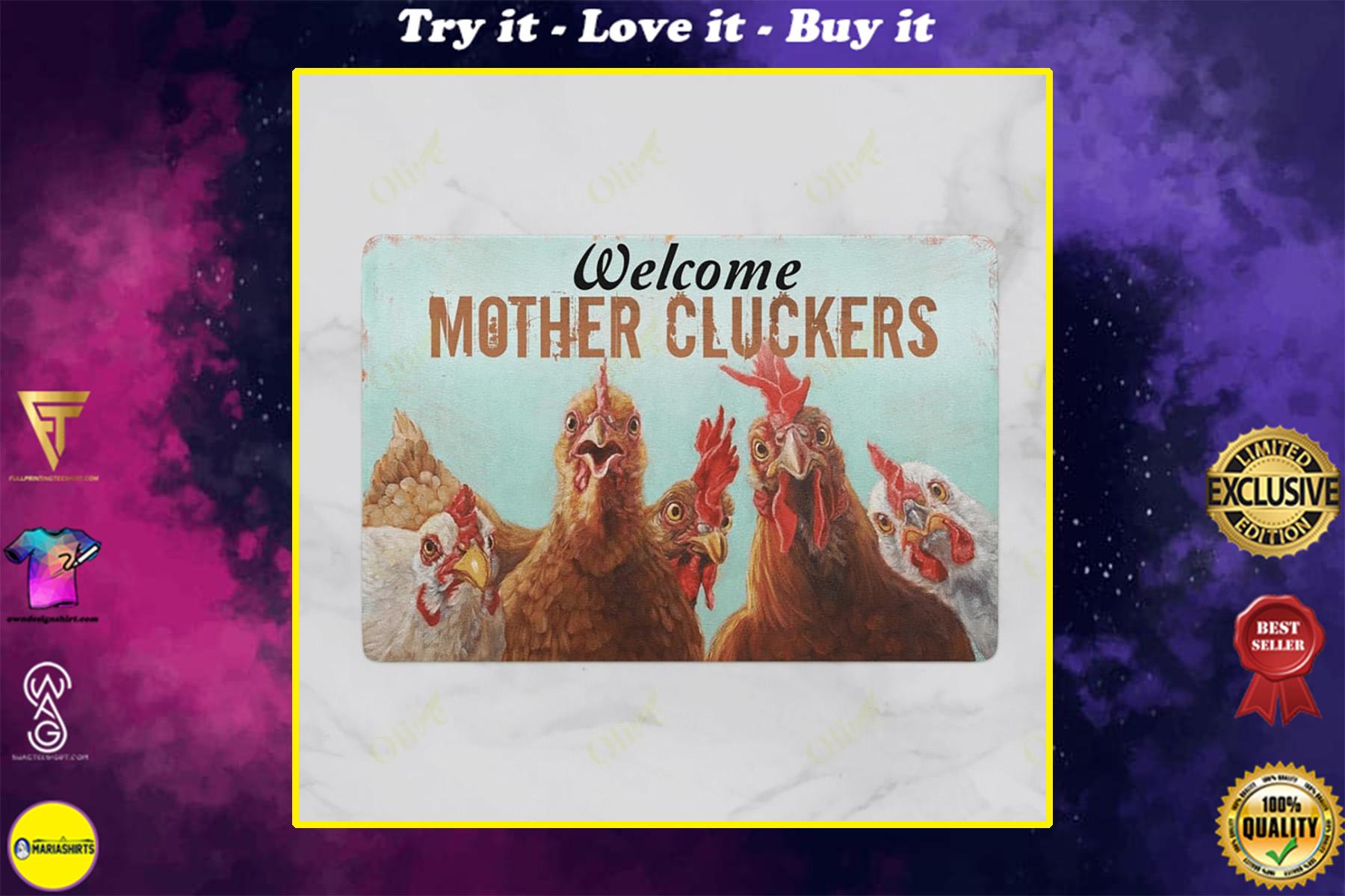 welcome mother cluckers chicken doormat