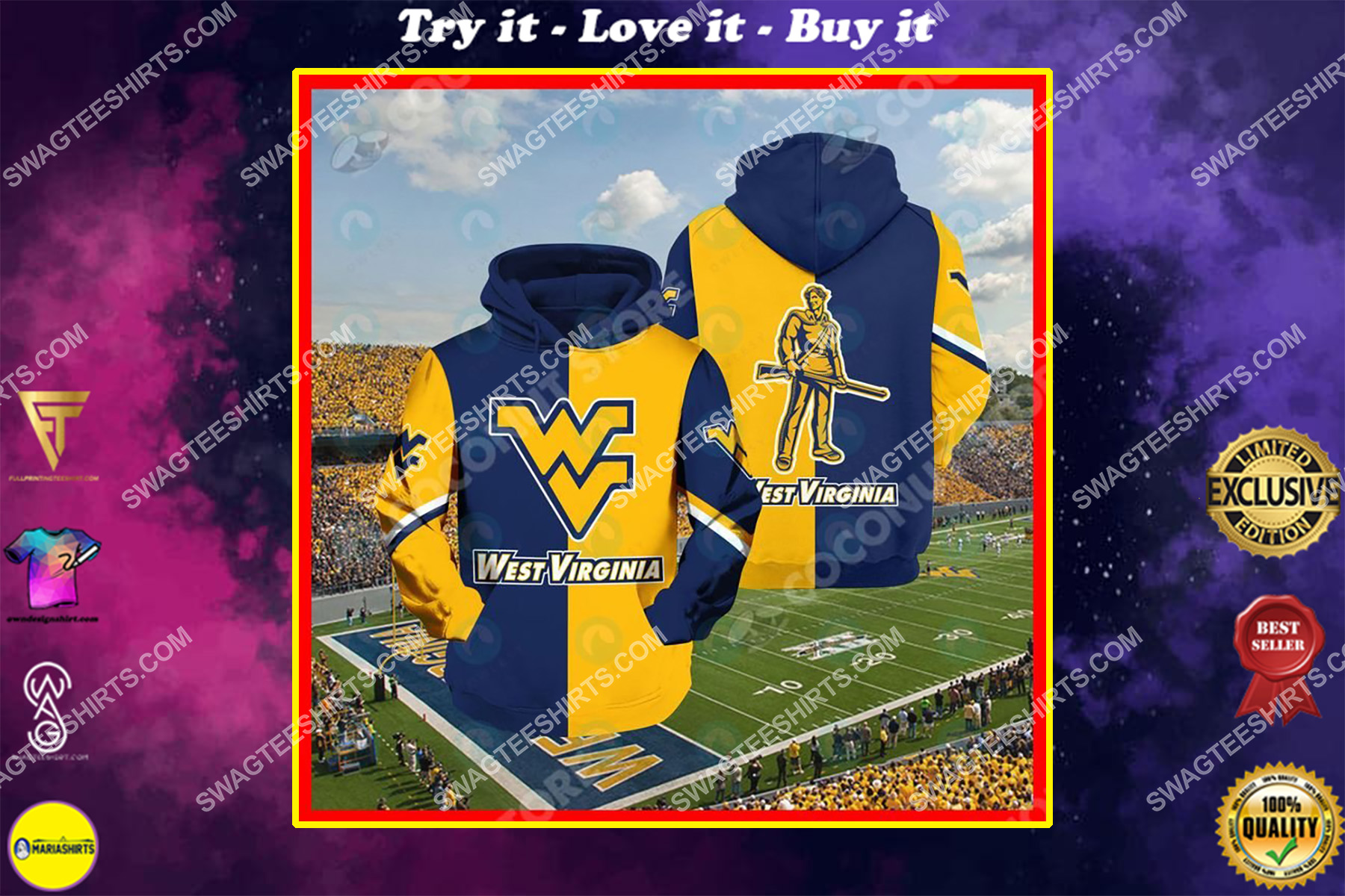 west virginia mountaineers football all over printed shirt