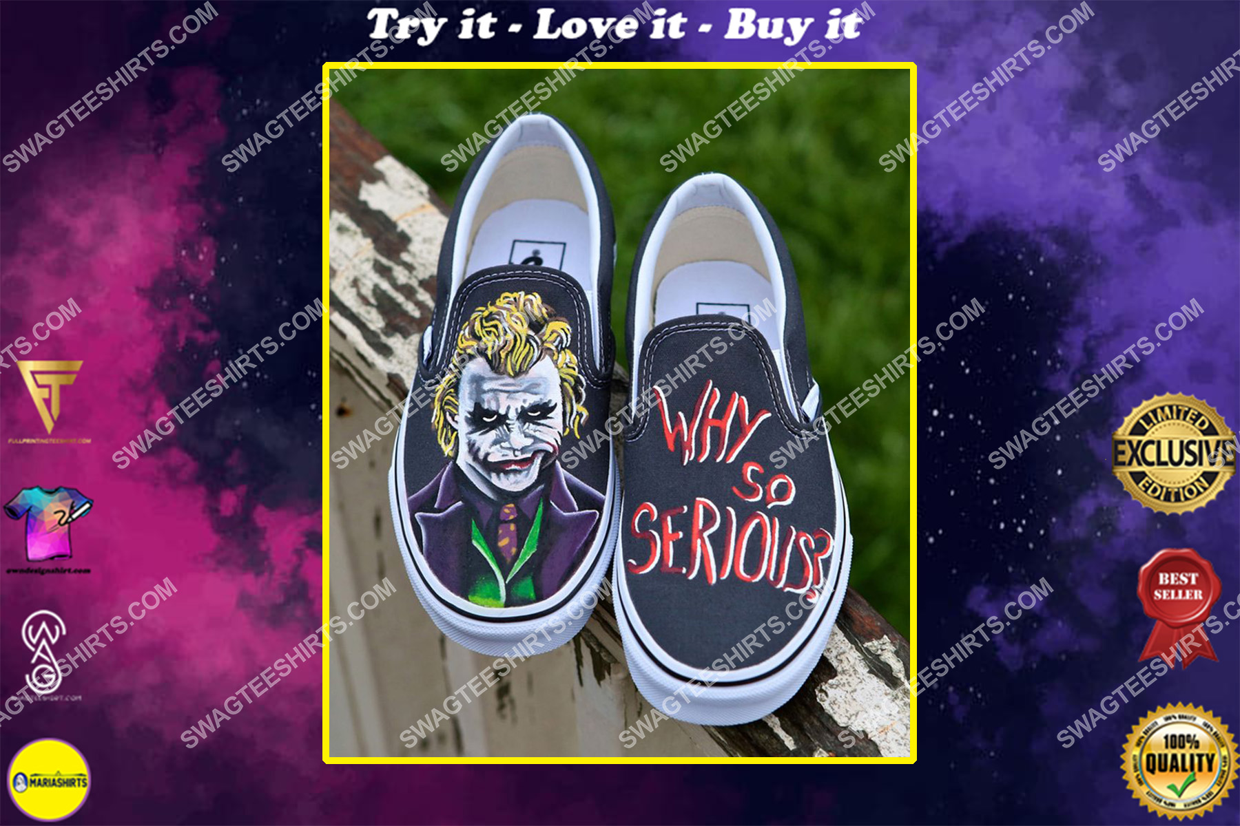 why so serious the joker all over print slip on shoes