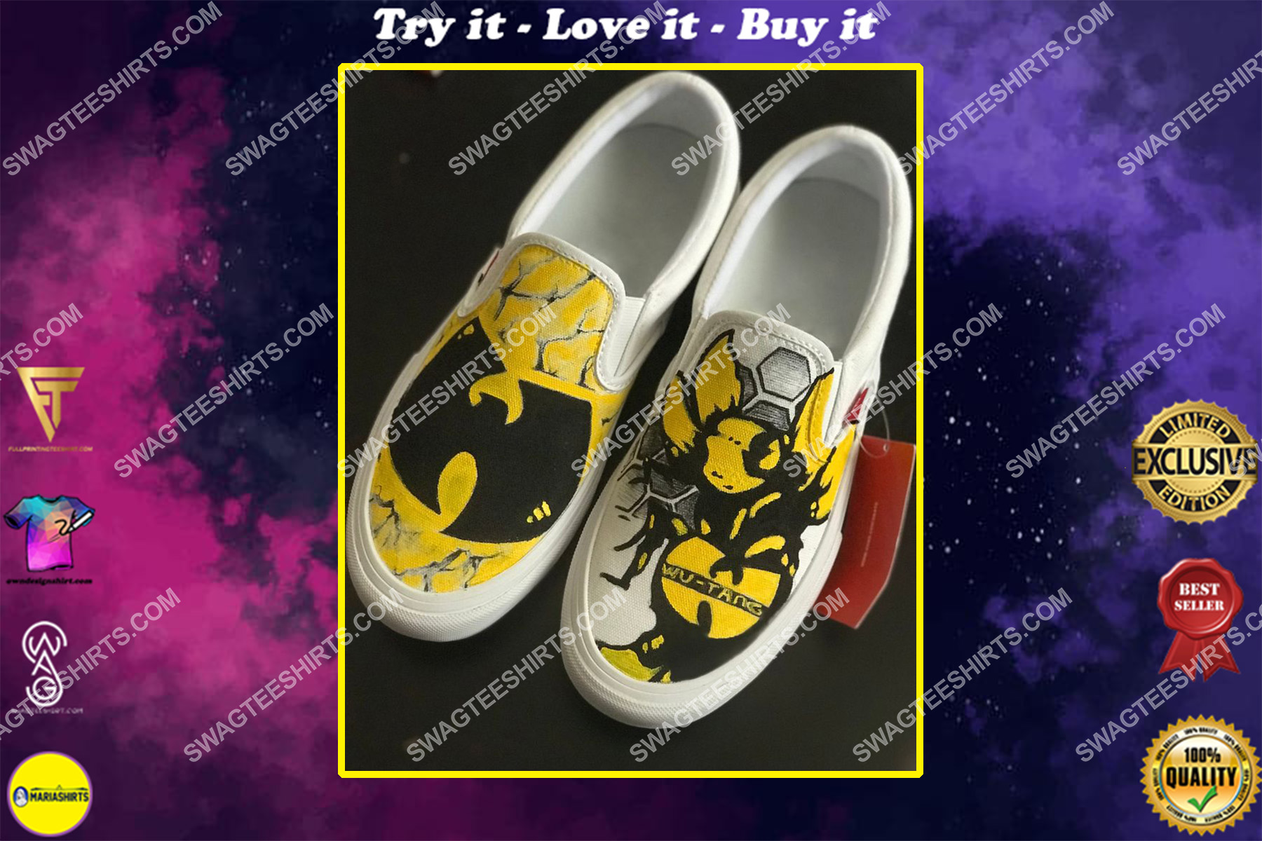 wu-tang clan all over print slip on shoes