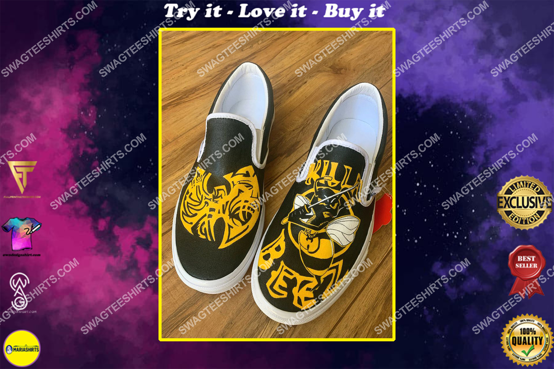 wu tang clan band all over print slip on shoes