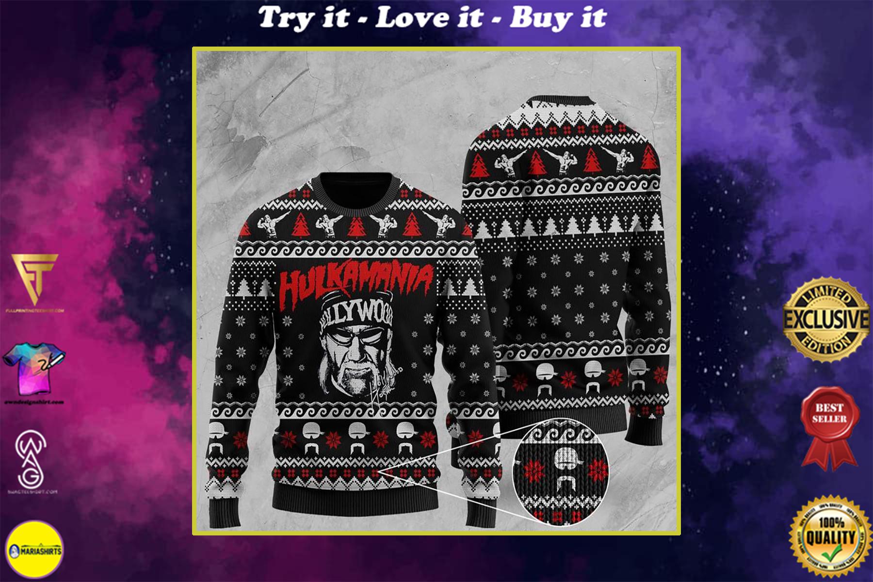 wwe hulkamania all over print ugly christmas sweater