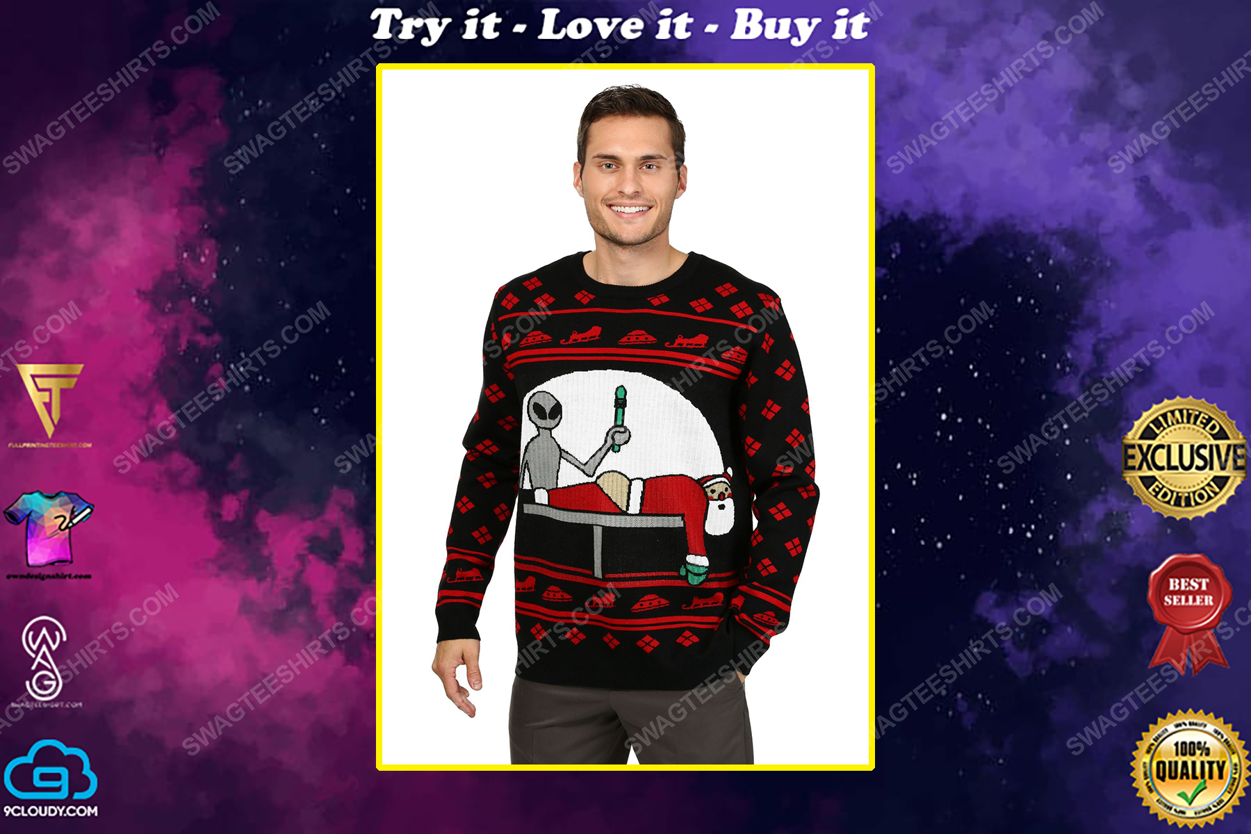 Alien and santa claus full print ugly christmas sweater