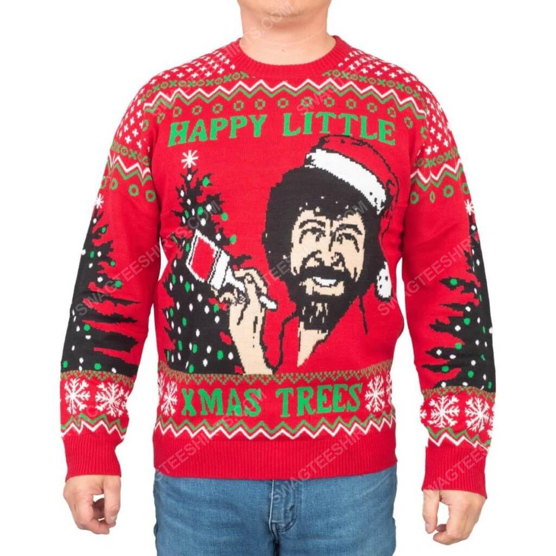 Bob ross happy little xmas trees full print ugly christmas sweater 2 - Copy