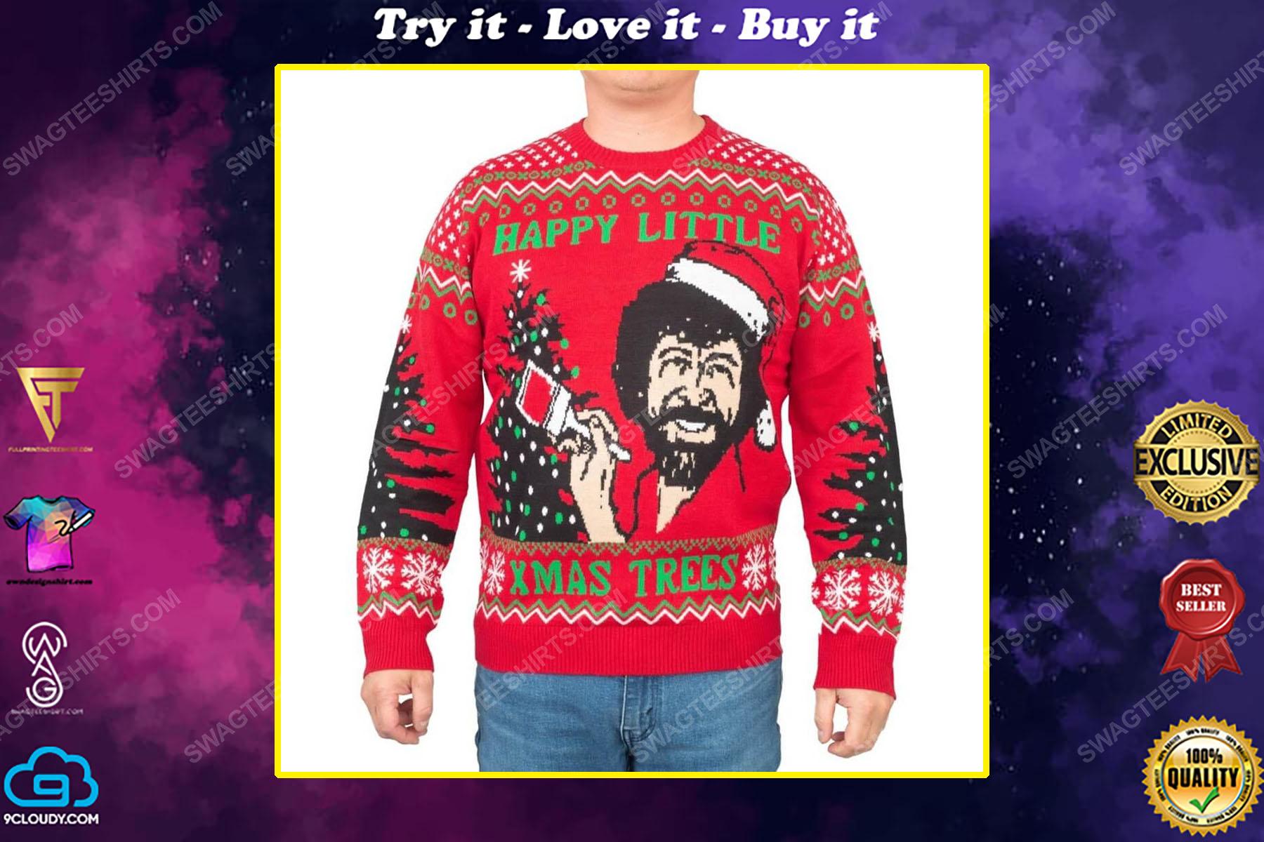 Bob ross happy little xmas trees full print ugly christmas sweater