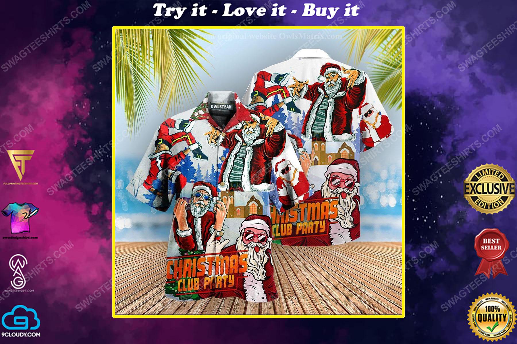 Christmas club party with santa dj hawaiian shirt