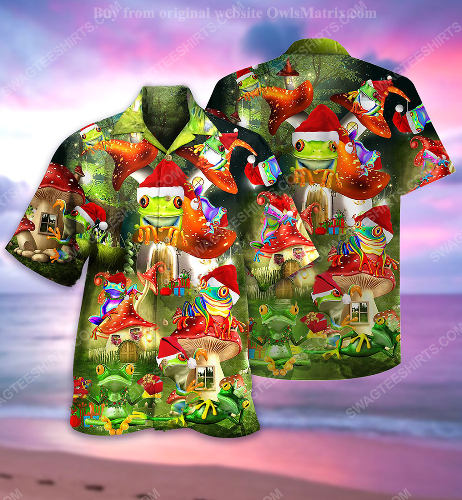 Christmas holiday and frog full print hawaiian shirt 2 - Copy