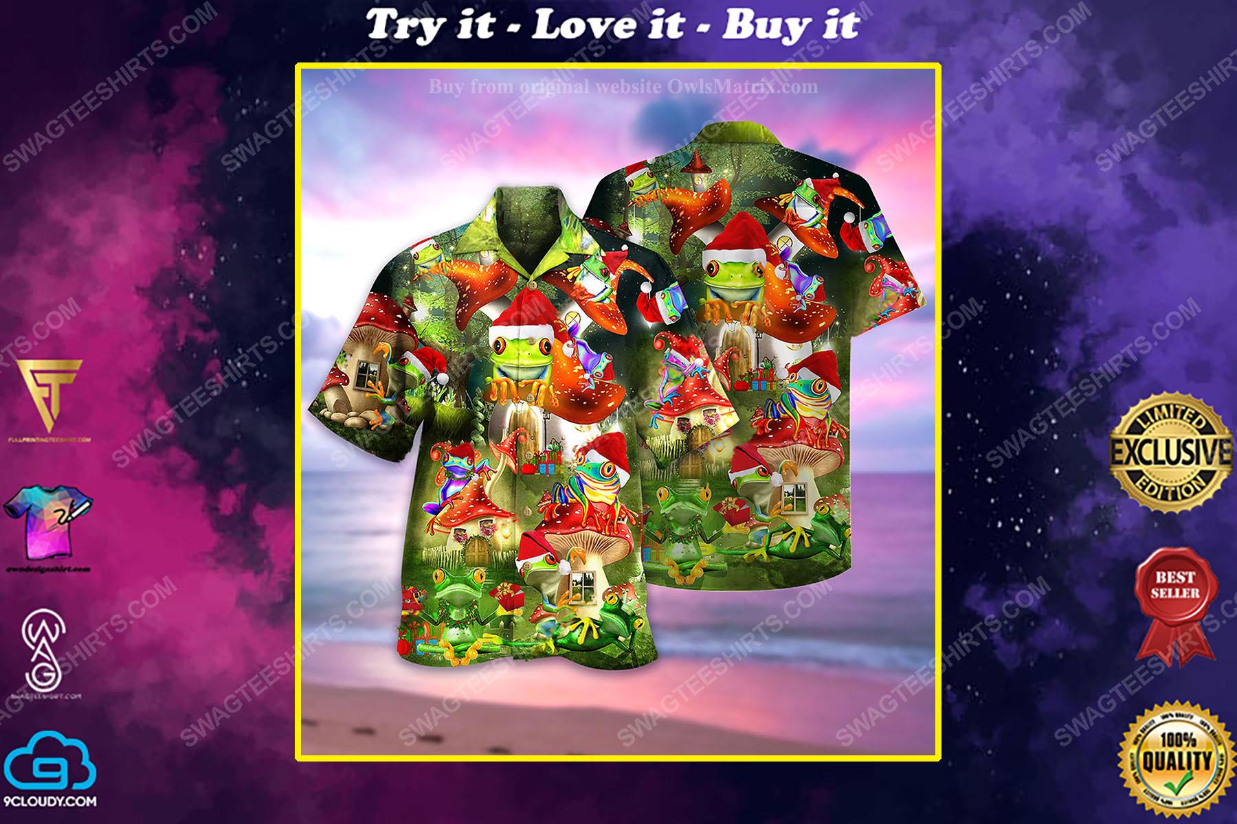 Christmas holiday and frog full print hawaiian shirt