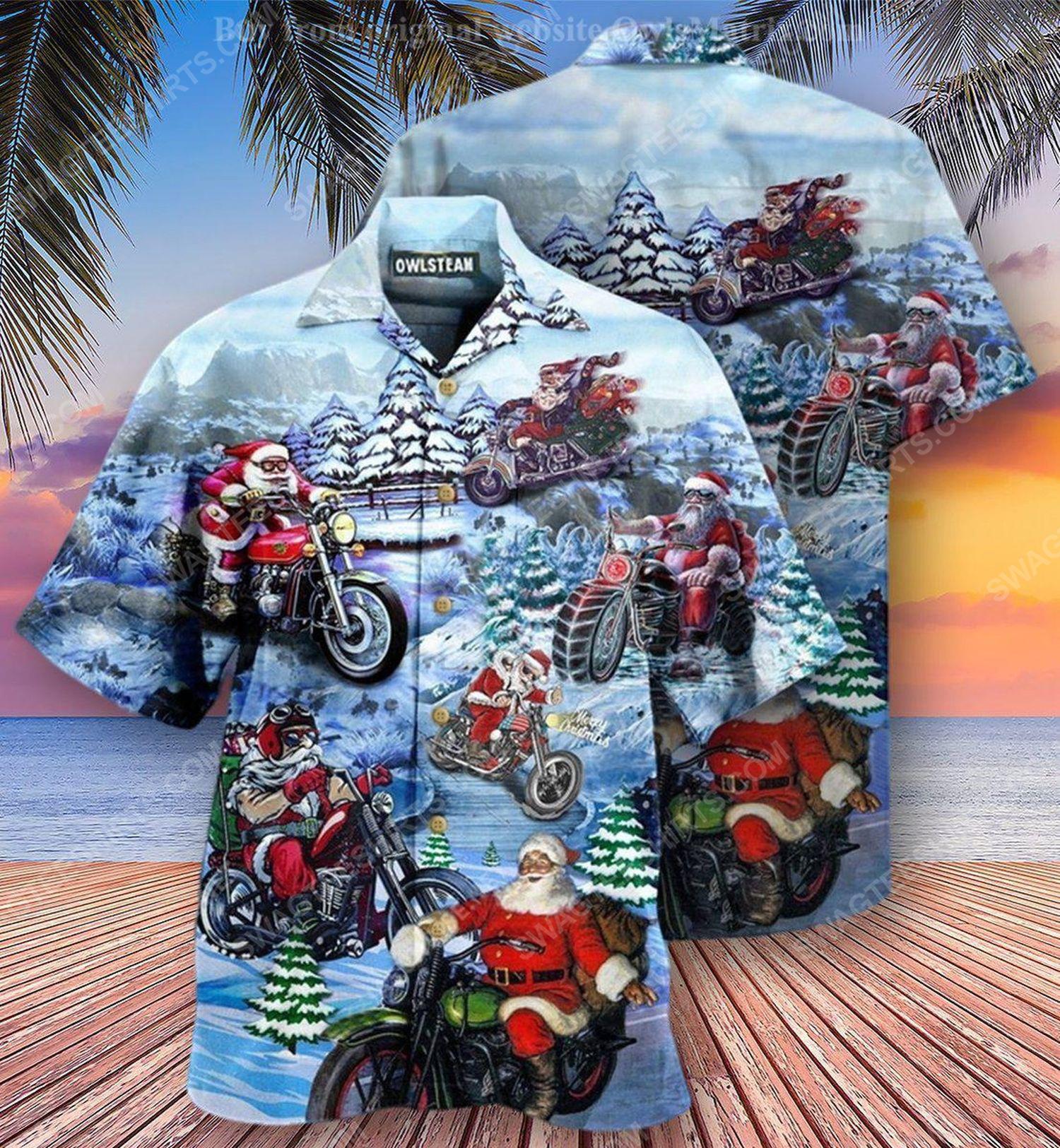 Christmas holiday and santa biker full print hawaiian shirt 2